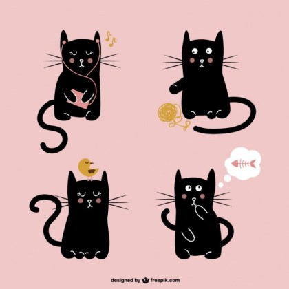 Cute Black Cat Illustration Free Vector