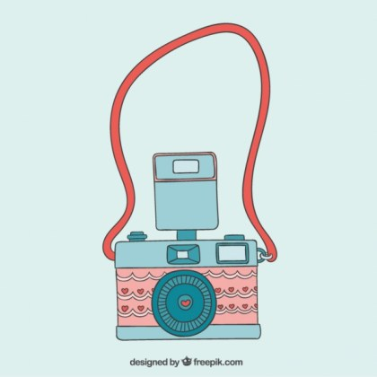 Cute Camera in Vintage Style Free Vector