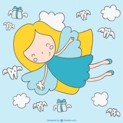 Cute Cartoon Fairy Flying Free Vector