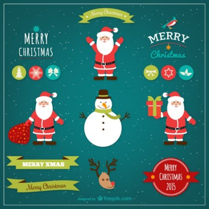 Cute Christmas Design Elements Free Vector