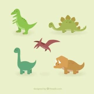Cute Dinosaurs Set Free Vector