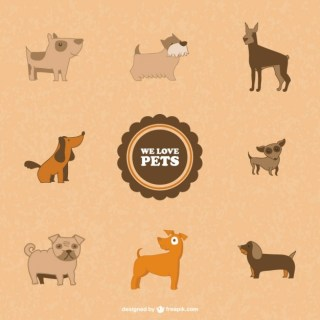 Cute Dogs Symbols Free Vector