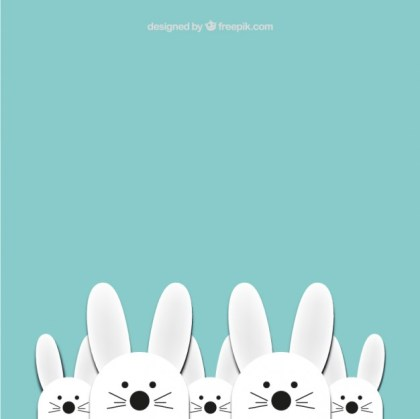 Cute Easter Bunnies Background Free Vector
