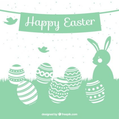 Cute Easter Card with Silhouettes Free Vector