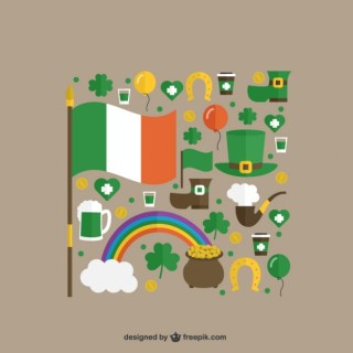 Cute Elements of St Patricks Day Free Vector