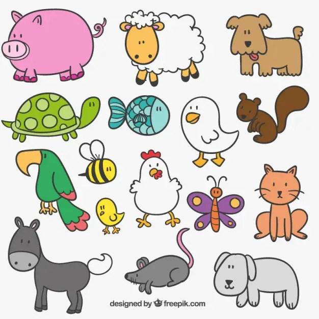 Cute Hand Drawn Farm Animals Free Vector