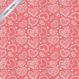 Cute Hearts Pattern Free Vector
