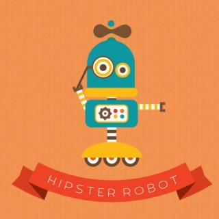 Cute Hipster Robot Character Free Vector