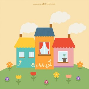 Cute Houses and Flowers Free Vector