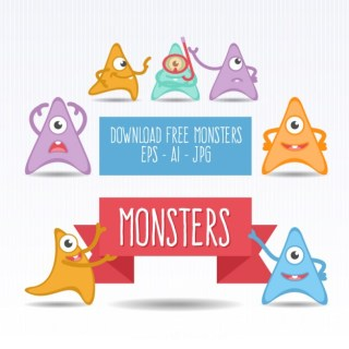 Cute Monsters Collection Free Vector