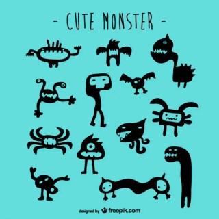 Cute Monsters Set Free Vector