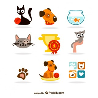 Cute Pets Icons Free Vector