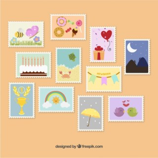 Cute Postage Stamps Free Vector