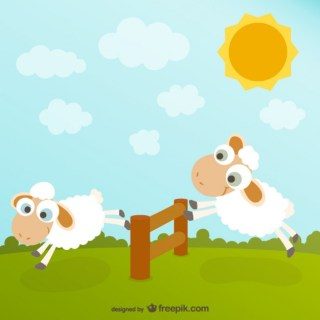 Cute Sheep Cartoon Free Vector