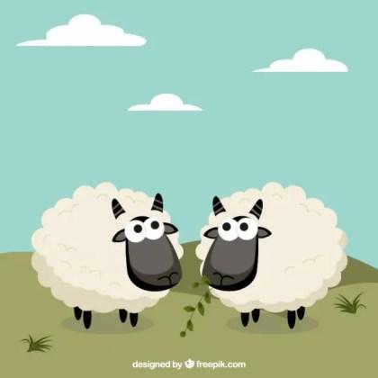 Cute Sheep in Cartoon Style Free Vector