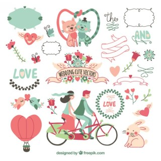Cute Wedding Card with Animals Free Vector