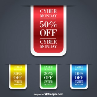 Cyber Monday Sales Labels Free Vector