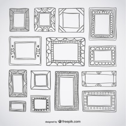 Deco Frames Retro Set Free Vector