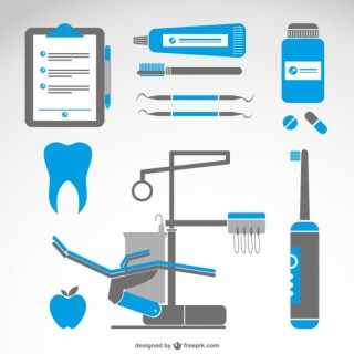 Dentist Symbols Medical Set Free Vector