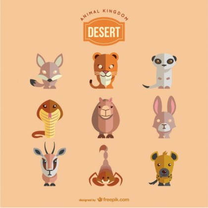 Desert Animals Set Free Vector