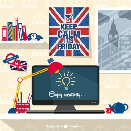 Designers Patriotic Workspace Free Vector