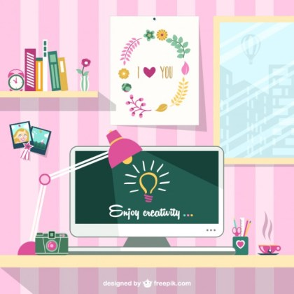 Designers Trendy Workplace Free Vector