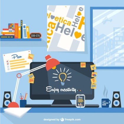 Designers Workspace Free Vector