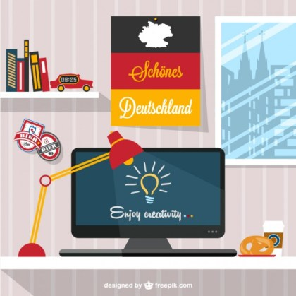 Designers Workspace German Style Free Vector