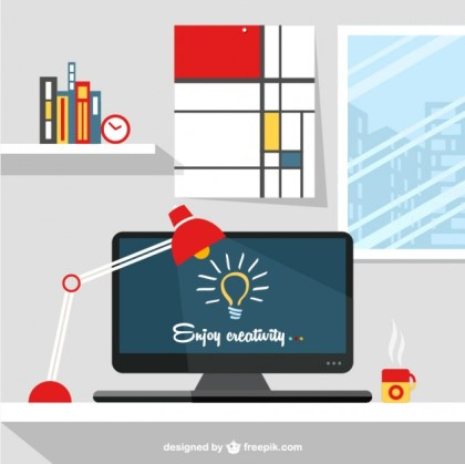 Designers Workspace Illustration Free Vector