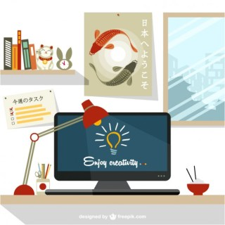 Designers Workspace Japanese Design Free Vector