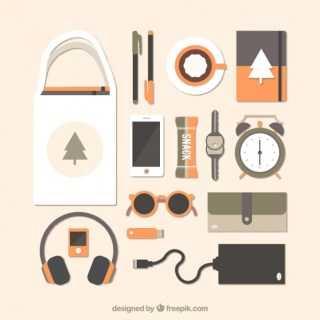 Desk with Modern Objects in Flat Design Free Vector