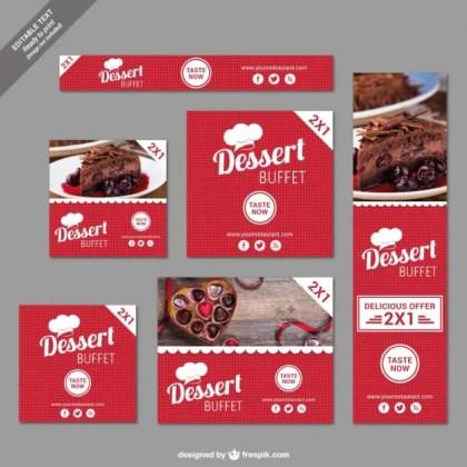 Dessert Buffet Discount Banners Free Vector