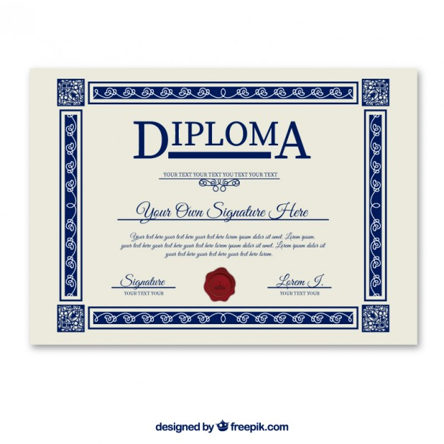 Diploma Template Free Vector