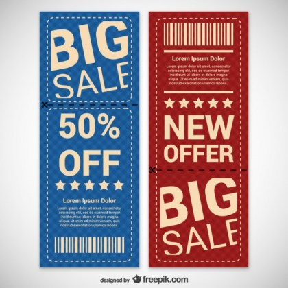 Discount Coupons Set Free Vector