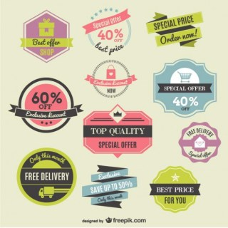 Discounts Labels and Ribbons Free Vector