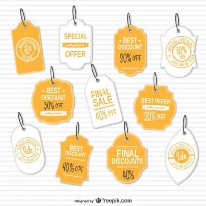 Discounts Retro Tags Set Free Vector