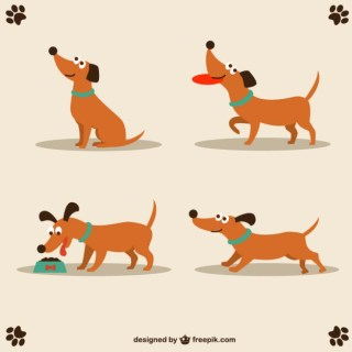 Dog Cute Character Design Free Vector