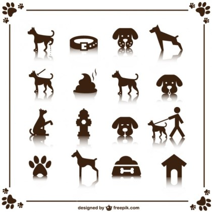 Dog Icons Set Free Vector