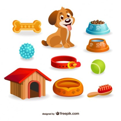 Dog Pet Design Elements Free Vector