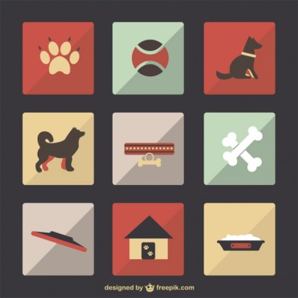 Dog Pet Flat Set Free Vector