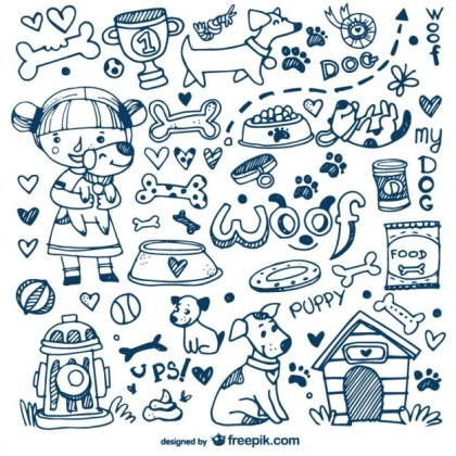 Dogs and Pets Doodles Free Vector