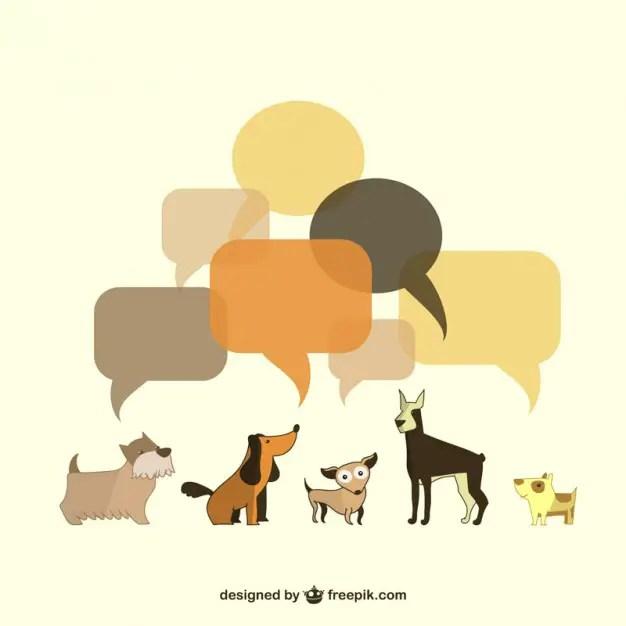 Dogs Illustration Speech Bubbles Free Vector