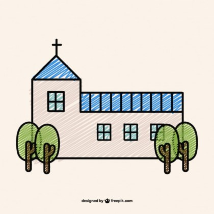 Doodle Design of a Christian Church Free Vector
