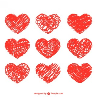 Doodle Set of Hearts Free Vector