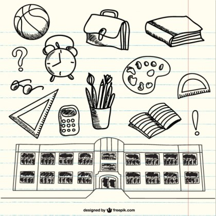 Doodles of School Supplies on Notebook Free Vector