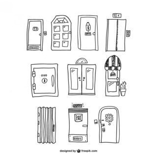 Doors Hand Drawn Graphics Free Vector