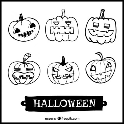 Drawing Set of Halloween Pumpkins Free Vector