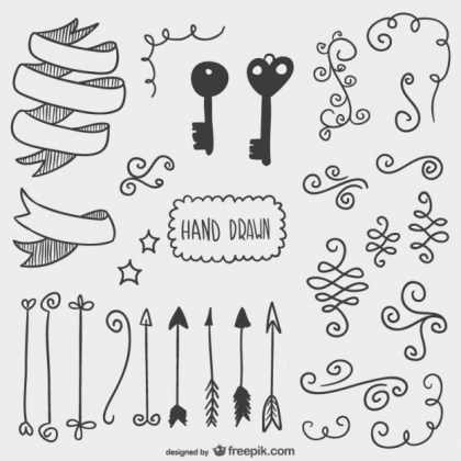 Drawn Arrows, Keys and Other Ornaments Free Vector