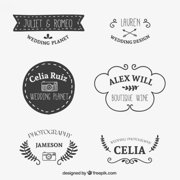 Drawn Logo Set Free Vector