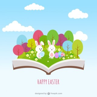 Easter Book in Pop Up Style Free Vector